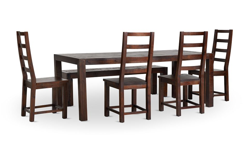 Seattle Dark Tone Rect Table, 4 Chairs & Bench