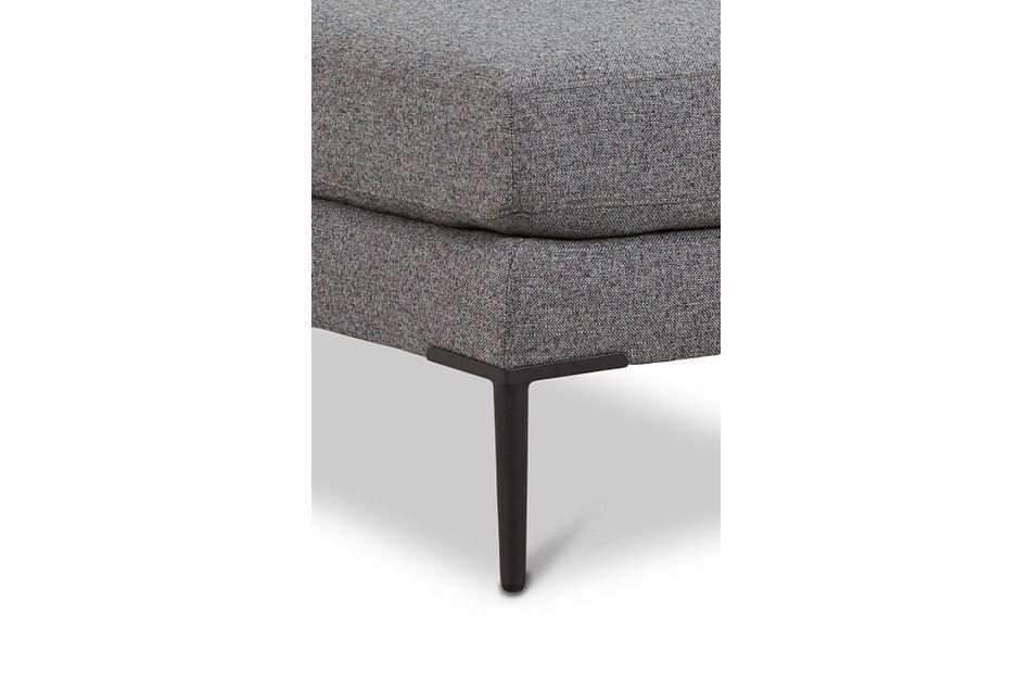 Morgan Dark Gray Fabric Ottoman With Metal Legs