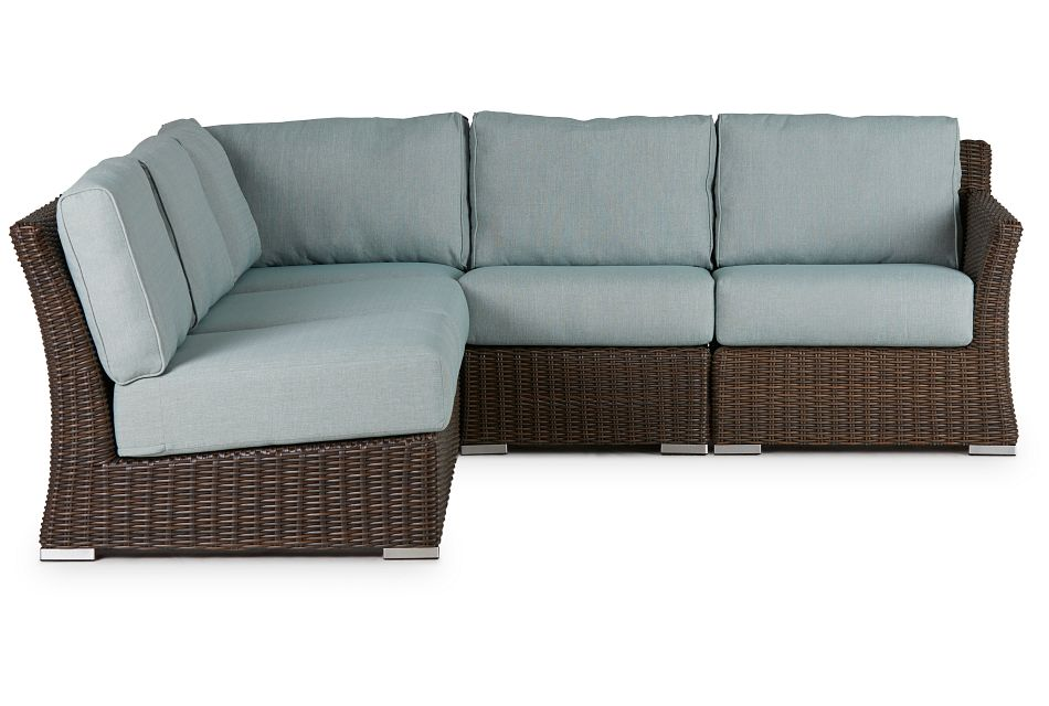 Southport Teal Right 5-piece Modular Sectional
