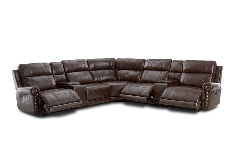 Hunter Dark Brown Micro Large Triple Power Reclining Two-arm Sectional