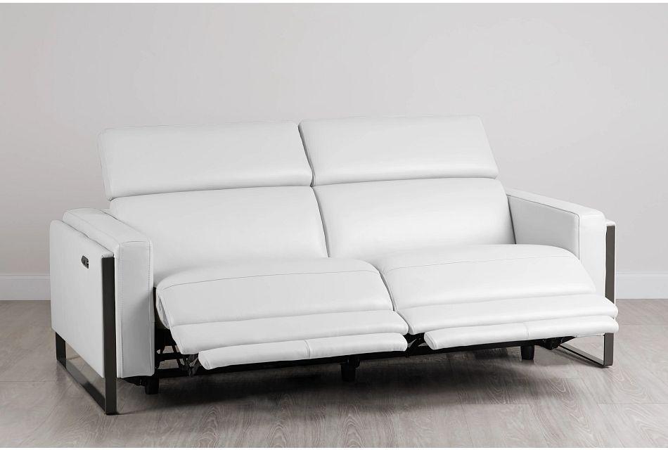 Atlas White Lthr/vinyl Power Reclining Sofa