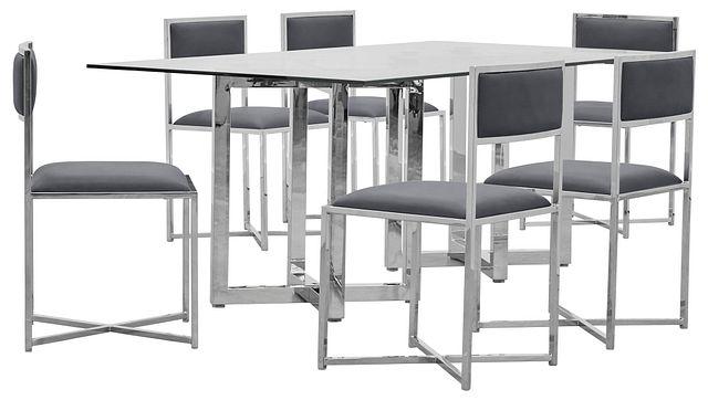 Amalfi Gray Glass Rectangular Table & 4 Metal Chairs (0)