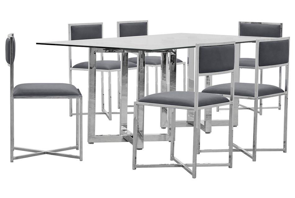 Amalfi Gray Glass Rectangular Table & 4 Metal Chairs