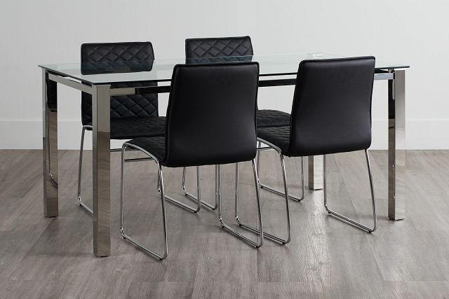 Skyline Black Rect Table & 4 Metal Chairs (0)