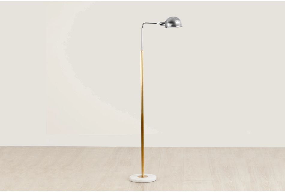 Alfie Silver Metal Floor Lamp