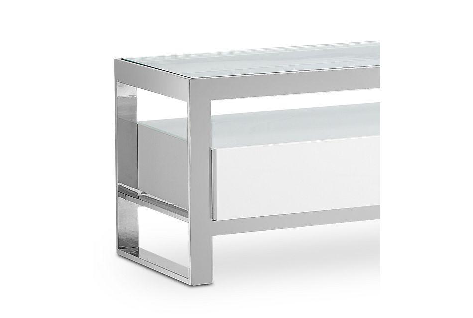 Miami White Glass Tv Stand