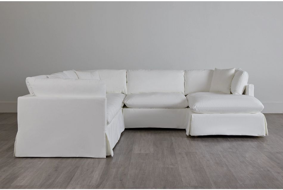 Raegan White Fabric Small Right Chaise Sectional,  (0)