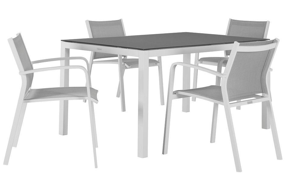 "Lisbon Gray 60"" Rectangular Table & 4 Chairs"