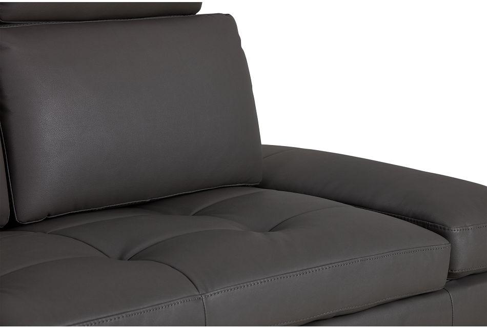 Camden Dark Gray Micro Sofa With Detachable Headrests