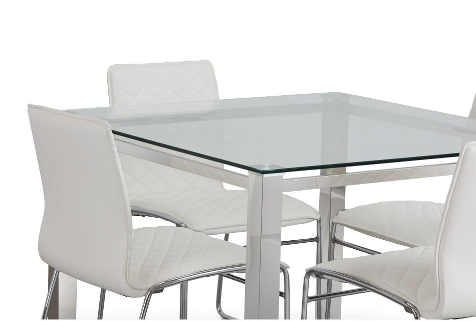 Skyline White Square Table & 4 Metal Chairs