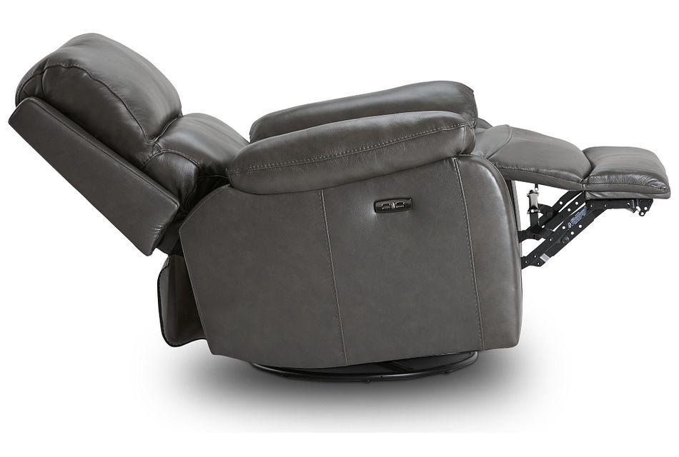 Mason Dark Gray Leather Power Glider Recliner With Power Headrest