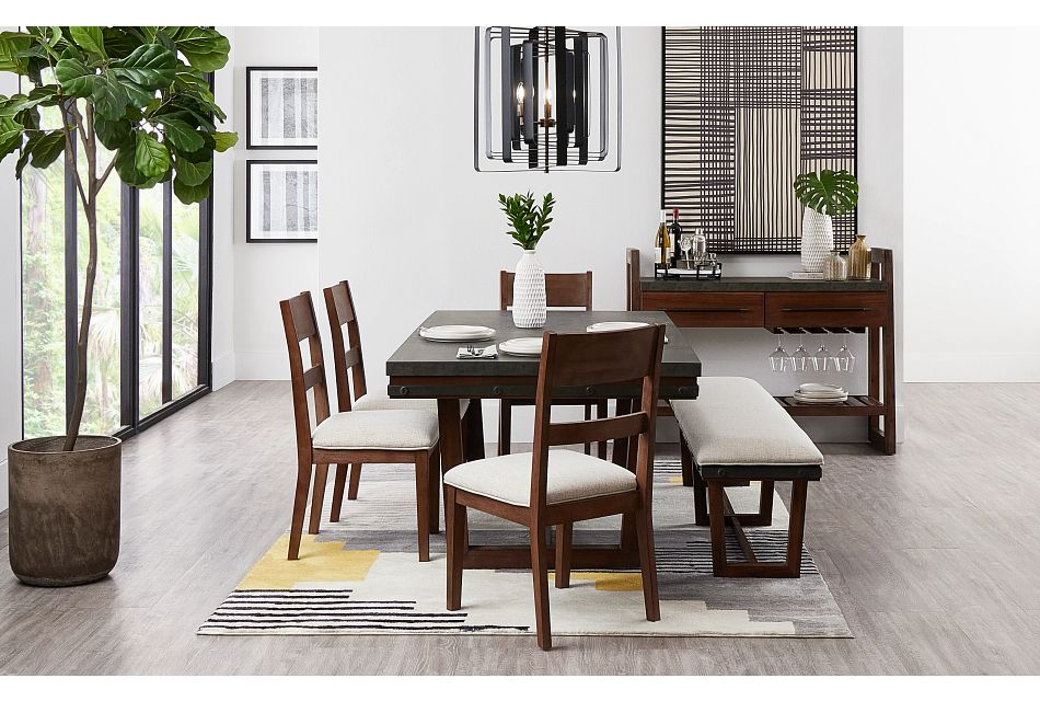 Forge Dark Tone Rect Table, 4 Chairs & Bench,  (1)
