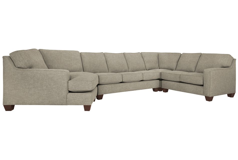 York PEWTER FABRIC Small Left Cuddler Innerspring Sleeper Sectional