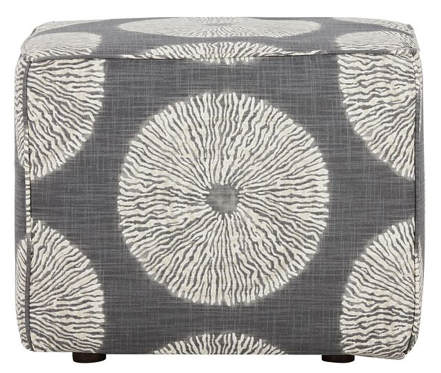 Shibori Gray Fabric Accent Pouf (1)