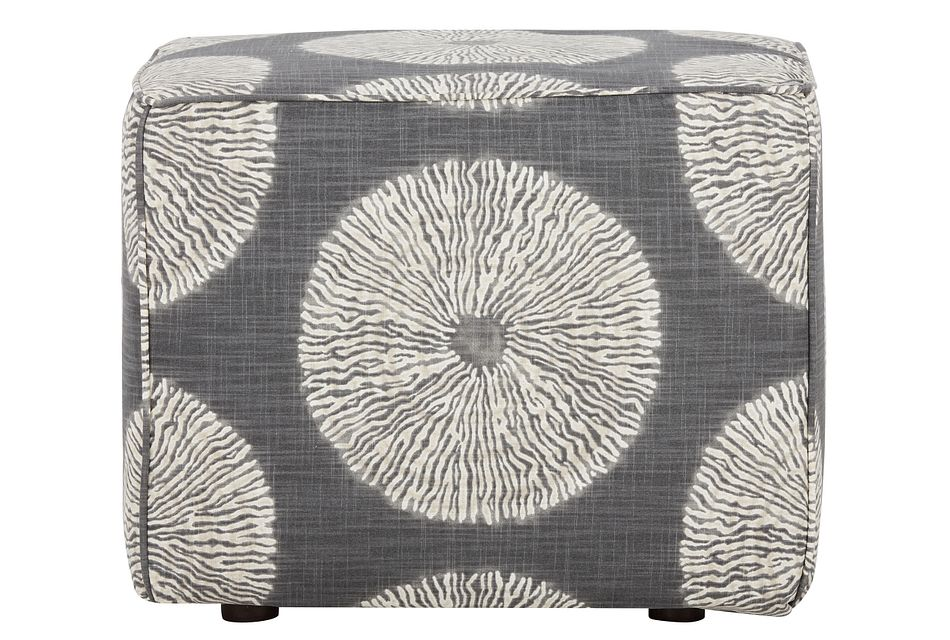 Shibori Gray Fabric Accent Pouf