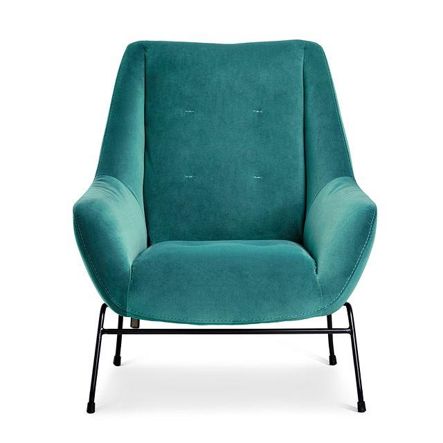 Xena Teal Velvet Accent Chair (3)