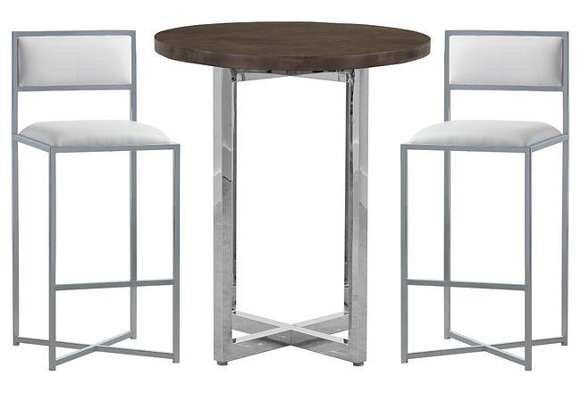 Amalfi White Wood Pub Table & 2 Metal Barstools