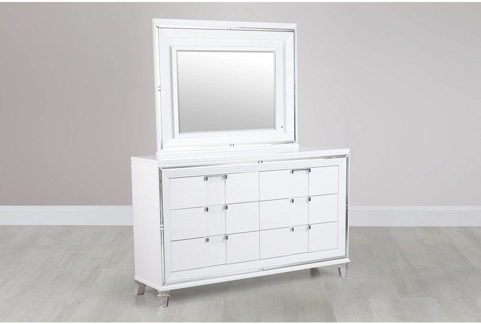 Vegas White Dresser & Mirror