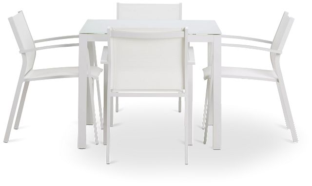 """Lisbon White 36"""" Square Table & 4 Chairs (3)"""