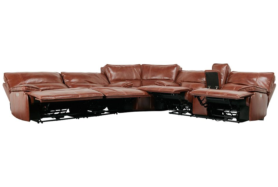 Jesse Medium Brown Lthr/vinyl Two-arm Power Reclining Sectional
