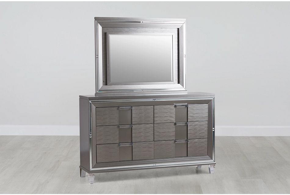 Vegas Gray Dresser & Mirror