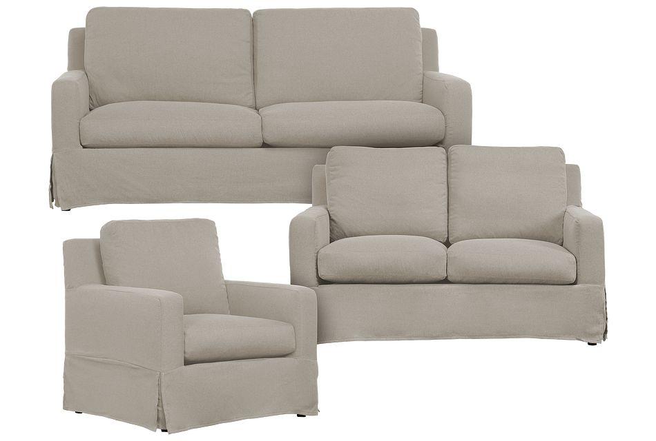 Bree Khaki Fabric Living Room