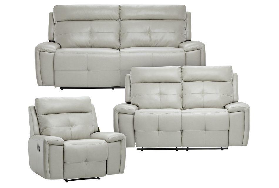 Chandler Light Gray Micro Manually Reclining Living Room