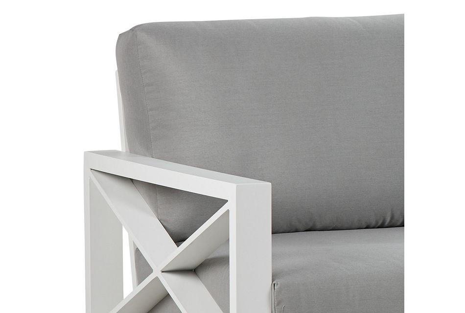 Linear White Dark Gray Aluminum Sofa