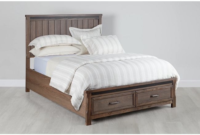 Lancaster Mid Tone Wood Panel Storage Bed
