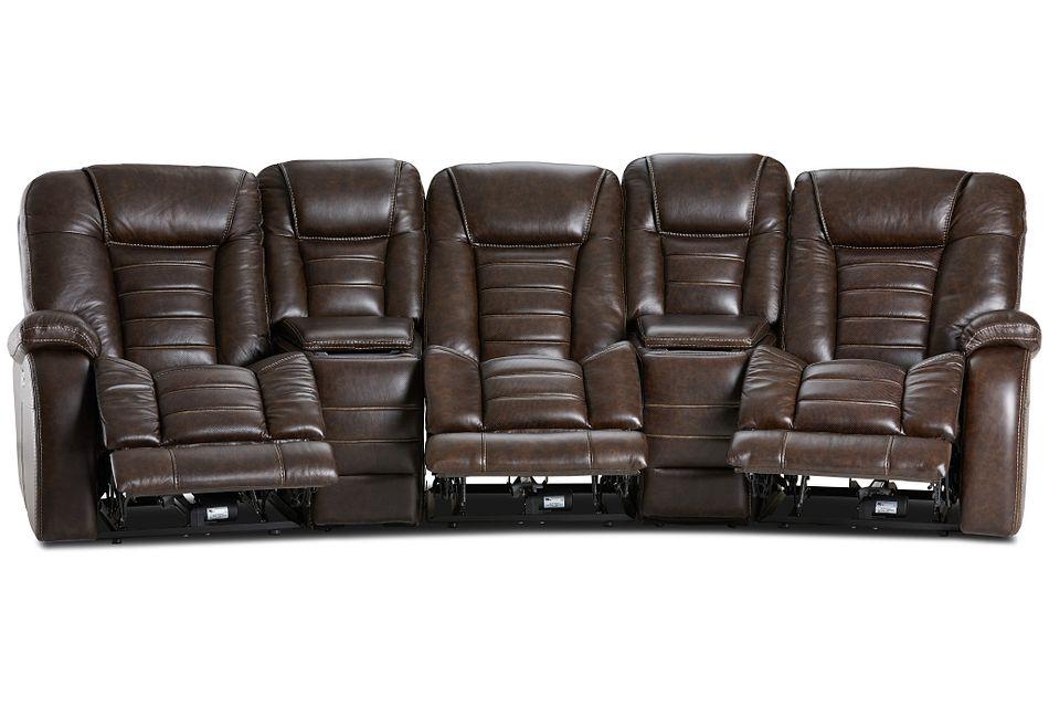 Bradley Dark Brown Lthr/vinyl Tri-power Reclining Home Theater Seating W/ Media