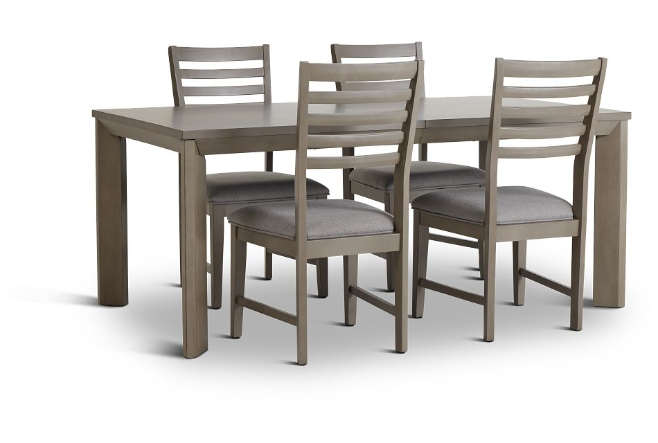 Zurich Gray Rect Table & 4 Slat Chairs,  (2)
