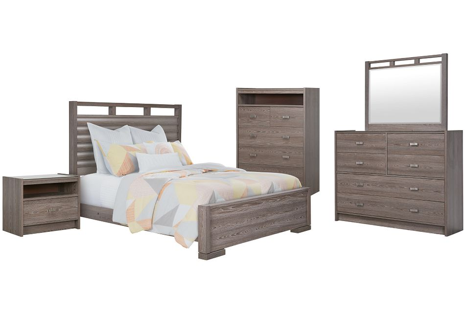 Sutton Light Tone Wood Slat Panel Bedroom Package
