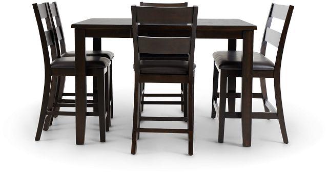 Navarro Dark Tone High Table, 4 Barstools & High Bench (2)