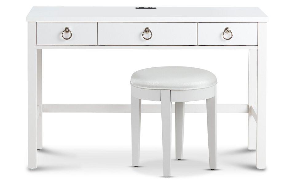 Isabella White Vanity Desk And Stool