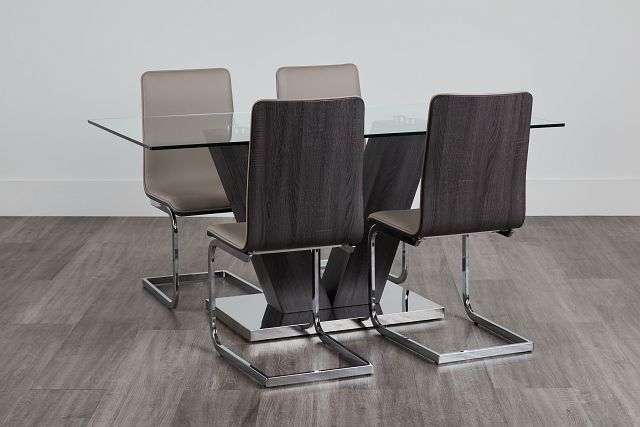 Kendall Dark Tone Rect Table & 4 Upholstered Chairs (0)