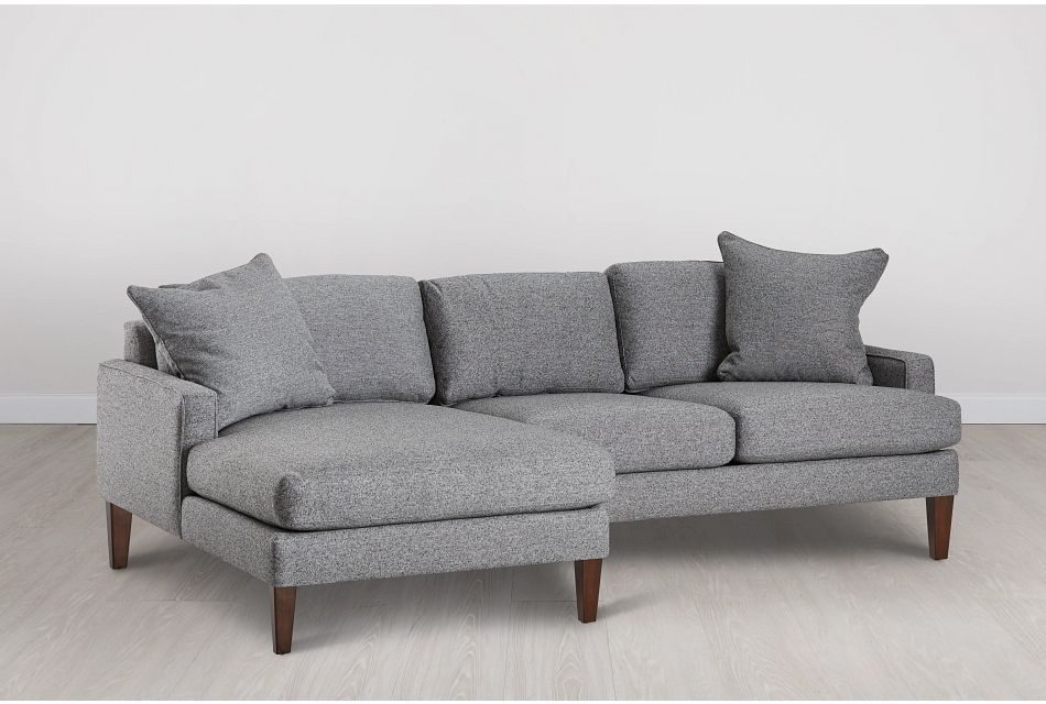 Morgan Dark Gray Fabric Small Left Chaise Sectional W/ Wood Legs