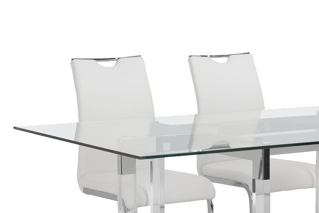 Denmark Glass Rect Table & 4 Upholstered Chairs (3)