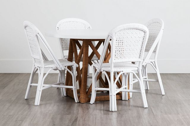 Greenwich Two-tone Round Table & 4 White Rattan Chairs (0)