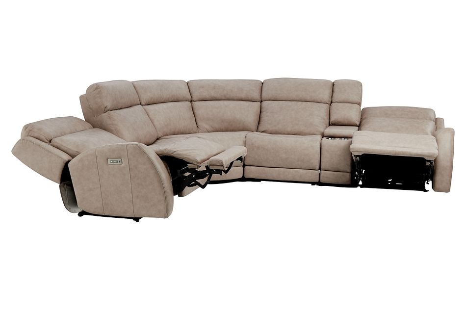 Rawlings Taupe Leather Medium Dual Power 2-arm Reclining Sectional
