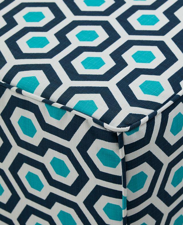 Magna Dark Blue Geometric Indoor/outdoor Accent Ottoman (2)