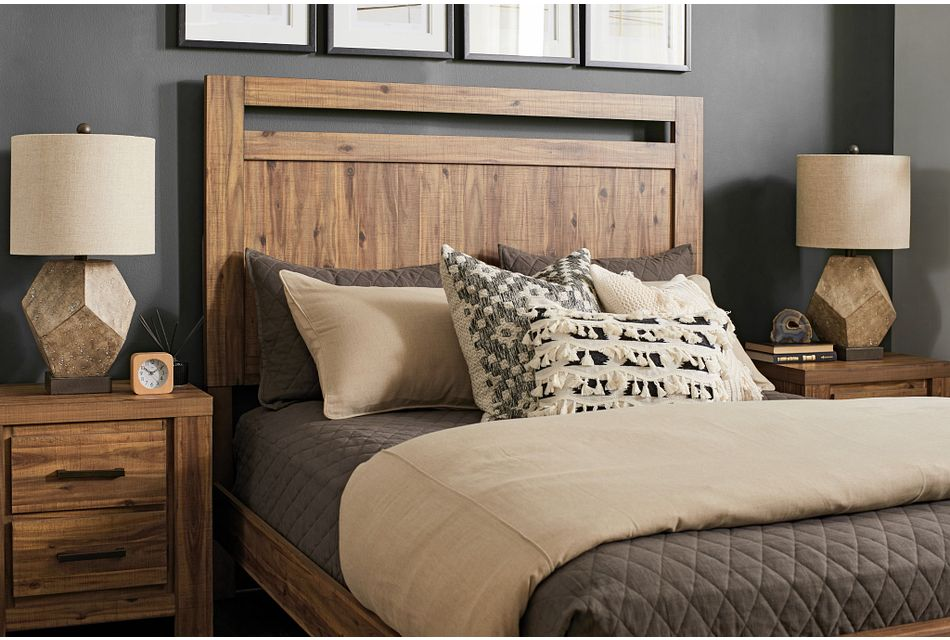 Forest Light Tone Panel Bed