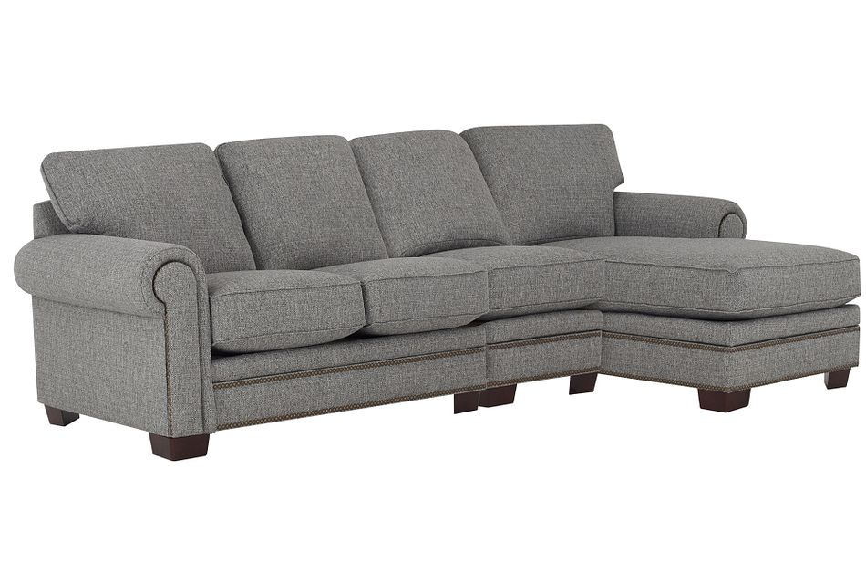 Foster Gray Fabric Small Right Chaise Sectional