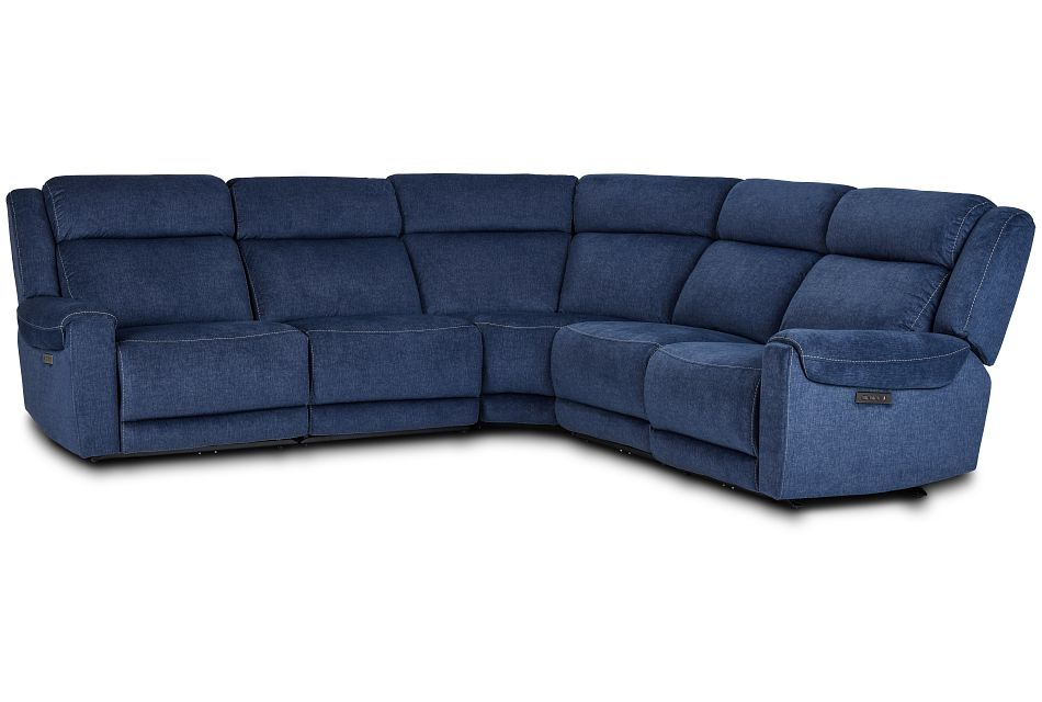 Beckett Dark Blue Micro Small Two-Arm Power Reclining Sectional,  (1)