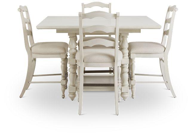 Savannah Ivory High Table & 4 Barstools (3)