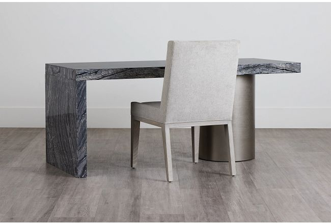 Linea Black Marble Desk And Chair
