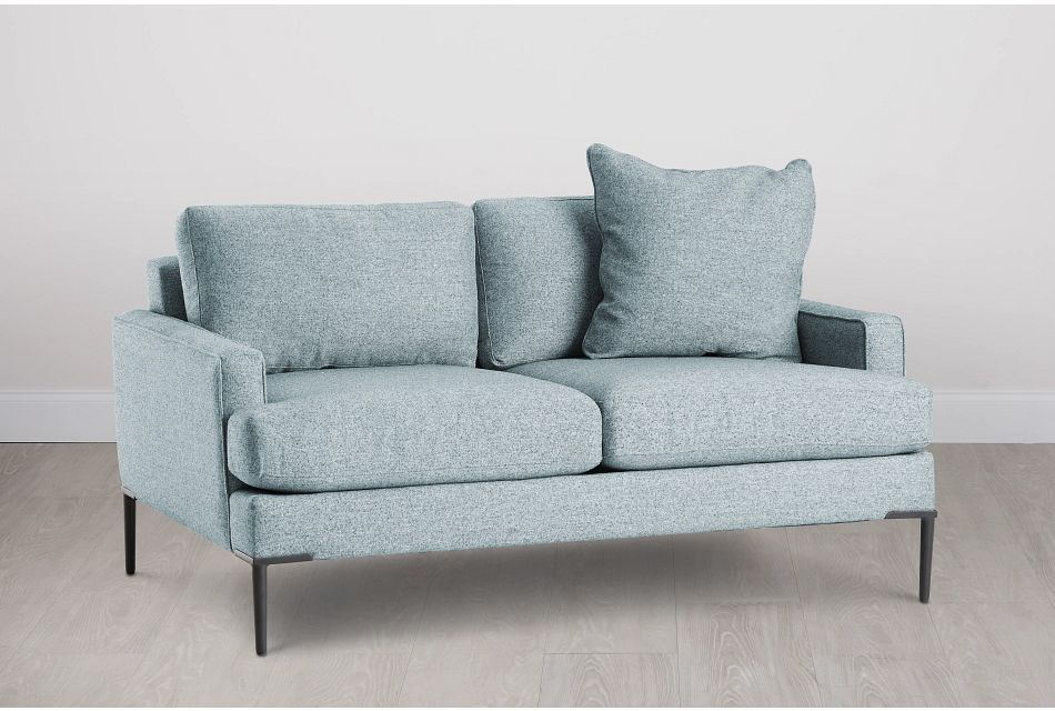 Morgan Teal Fabric Loveseat With Metal Legs