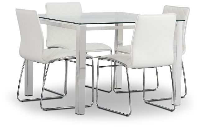 Skyline White Square Table & 4 Metal Chairs (1)
