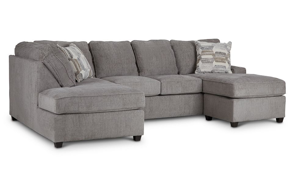 Millie Gray Fabric Sectional,  (2)