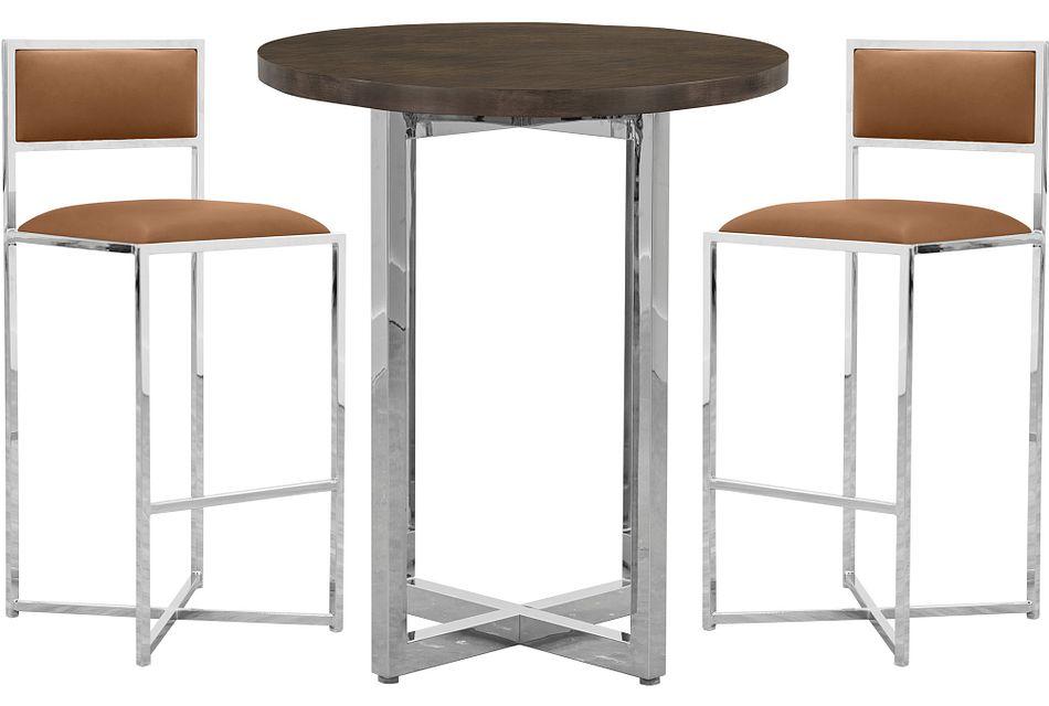 Amalfi Brown Wood Pub Table & 2 Metal Barstools