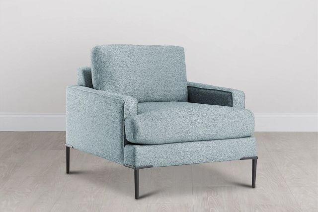 Morgan Teal Fabric Chair With Metal Legs (2)
